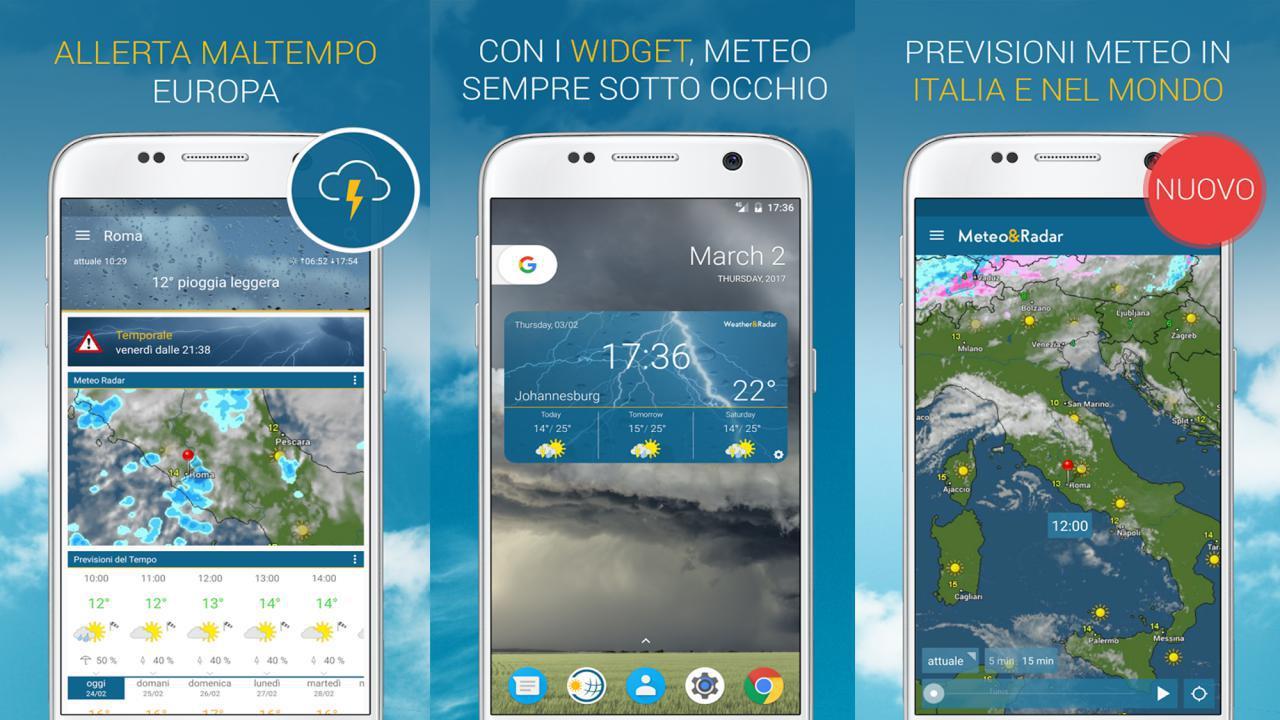 Widget Meteo & Radar gratis per Android e iOS