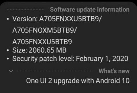 android 10 su Galaxy A70