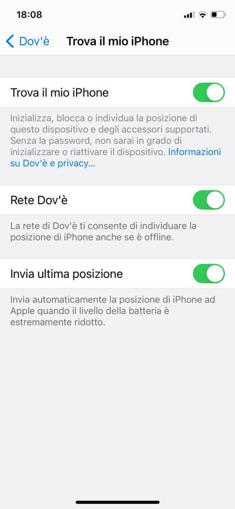 schermata Trova il mio iPhone